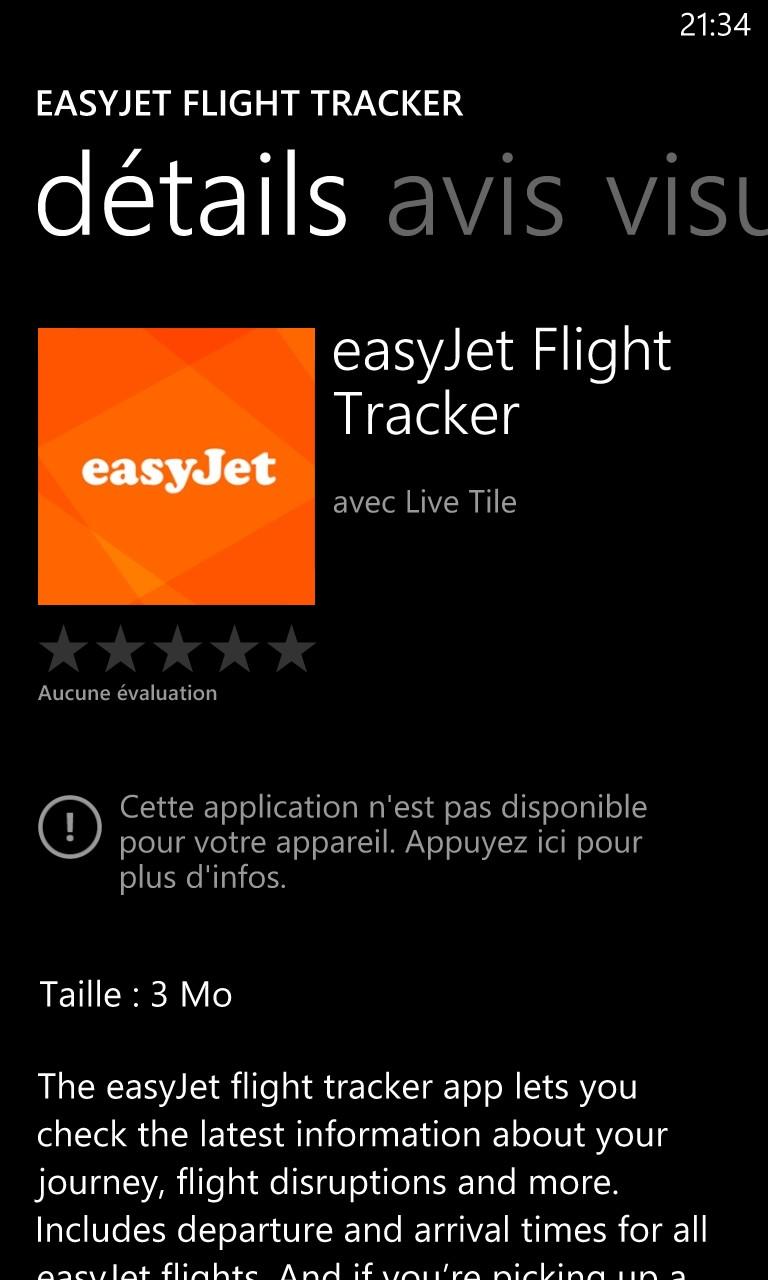 Smartphone France Windows Edition : easyJet publie une application