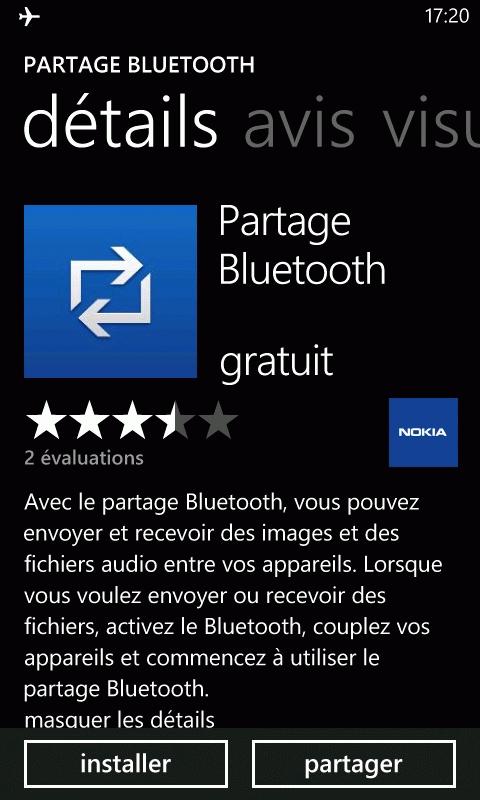 partage bluetooth nokia lumia 610