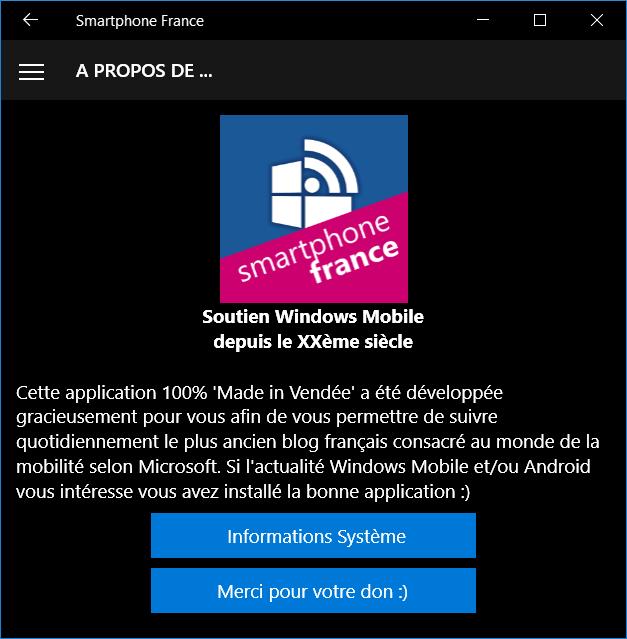 Juste un petit message pour vous informer qu une nouvelle version de  l application Smartphone France pour Windows 10 vient de récemment être  publiée sur le ... 05364a17d83d